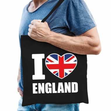 Zwarte katoenen tas i love england
