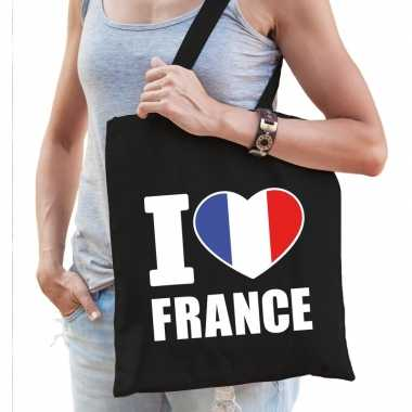 Zwarte katoenen tas i love france