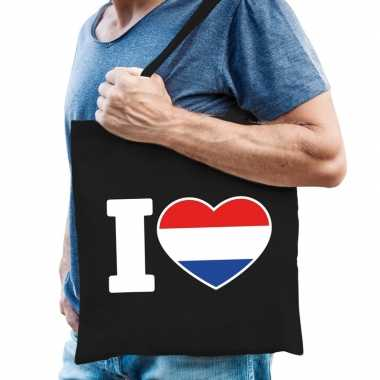 Zwarte katoenen tas i love holland
