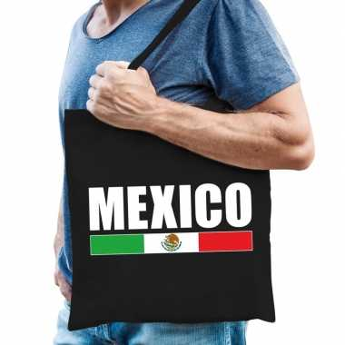 Zwarte katoenen tas mexico
