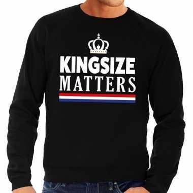 Zwarte kingsize matters sweater heren