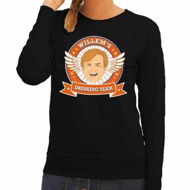 Zwarte koningsdag willem drinking team sweater dames