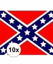 10x stuks stickers usa rebel vlag