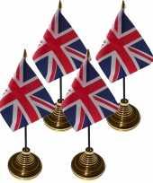 6x stuks tafelvlaggetjes groot brittannie voet 10 15