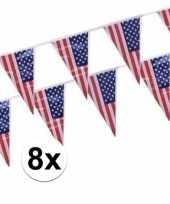8x amerikaanse usa vlaggenlijnen 4 meter