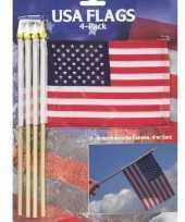 8x stuks hand zwaaivlaggetjes amerika