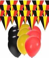 Belgie supporter versiering slingers 20 meter 60x ballonnen
