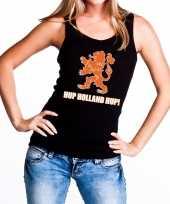 Ek wk supporter tanktop hemd hup holland hup zwart dames