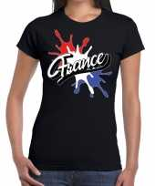 France frankrijk t-shirt spetter zwart dames