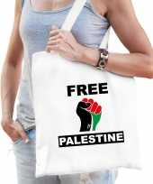 Free palestine katoenen tasje wit heren palestina tas palestijnse vlag vuist