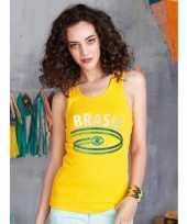 Geel dames shirtje braziliaanse vlag 10048402
