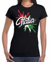 Italia italie t-shirt spetter zwart dames