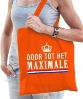 Katoenen oranje supporters tas dames 10189492