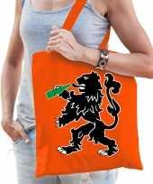 Katoenen oranje supporters tas dames