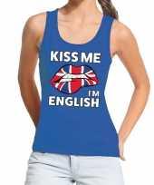 Kiss me i am english tanktop mouwloos shirt blauw dames