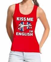 Kiss me i am english tanktop mouwloos shirt rood dames