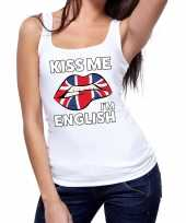 Kiss me i am english tanktop mouwloos shirt wit dames