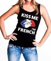 Kiss me i am french tanktop mouwloos shirt zwart dames
