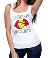 Kiss me i am spanish tanktop mouwloos shirt wit dames