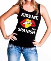 Kiss me i am spanish tanktop mouwloos shirt zwart dames