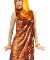 Oranje glinster jurk dames