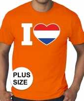 Oranje i love holland grote maten shirt heren