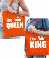 Oranje katoenen tas the king the queen witte tekst volwassenen