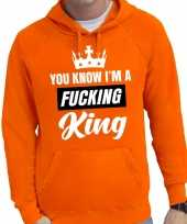 Oranje you know i am a fucking king hooded sweater heren