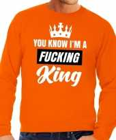 Oranje you know i am a fucking king sweater heren