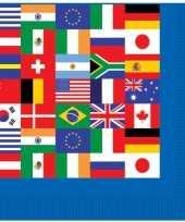 Papieren servetten wereld vlaggen