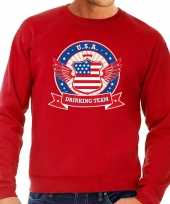 Rode usa drinking team sweater heren