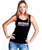 Zwart australie supporter singlet-shirt tanktop dames
