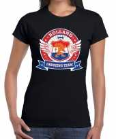 Zwart holland drinking team t-shirt dames 10140423