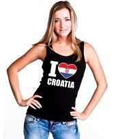 Zwart i love kroatie fan singlet-shirt tanktop dames