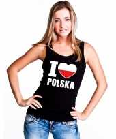 Zwart i love polen fan singlet-shirt tanktop dames