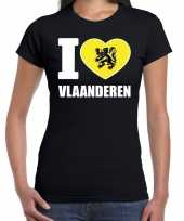 Zwart i love vlaanderen t-shirt dames