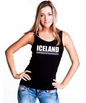 Zwart ijsland supporter singlet-shirt tanktop dames