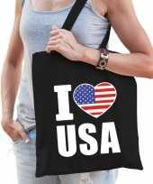 Zwarte katoenen amerika tas i love usa