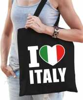 Zwarte katoenen italie tas i love italy