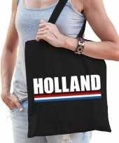 Zwarte katoenen nederland tas holland
