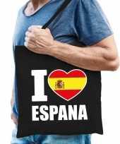 Zwarte katoenen spanje tas i love espana