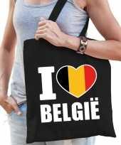 Zwarte katoenen tas i love belgie