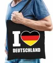 Zwarte katoenen tas i love deutschland