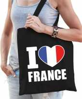 Zwarte katoenen tas i love france