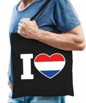 Zwarte katoenen tas i love holland